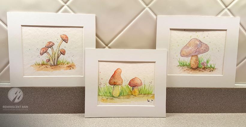 The matted mushroom watercolor trio.
