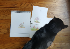 shadowfax mushroom watercolor cat