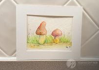 Matted mushroom watercolor.
